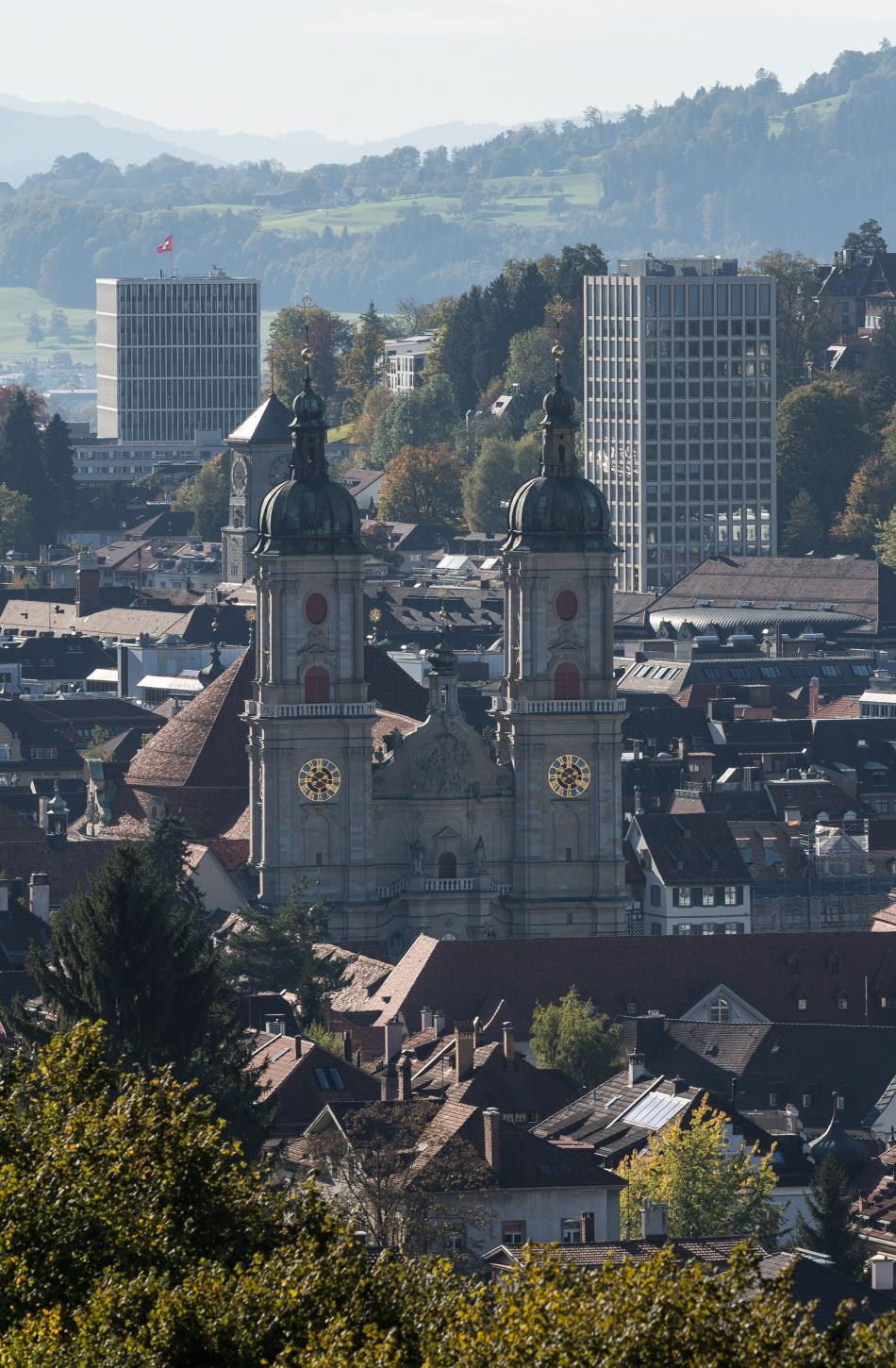 View St.Gallen with Cathedral and Federal Court
